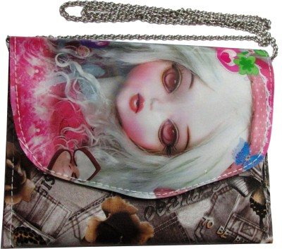 Pink Rose Girls Multicolor Rexine Sling Bag