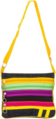 Glitters Girls Yellow Canvas Sling Bag