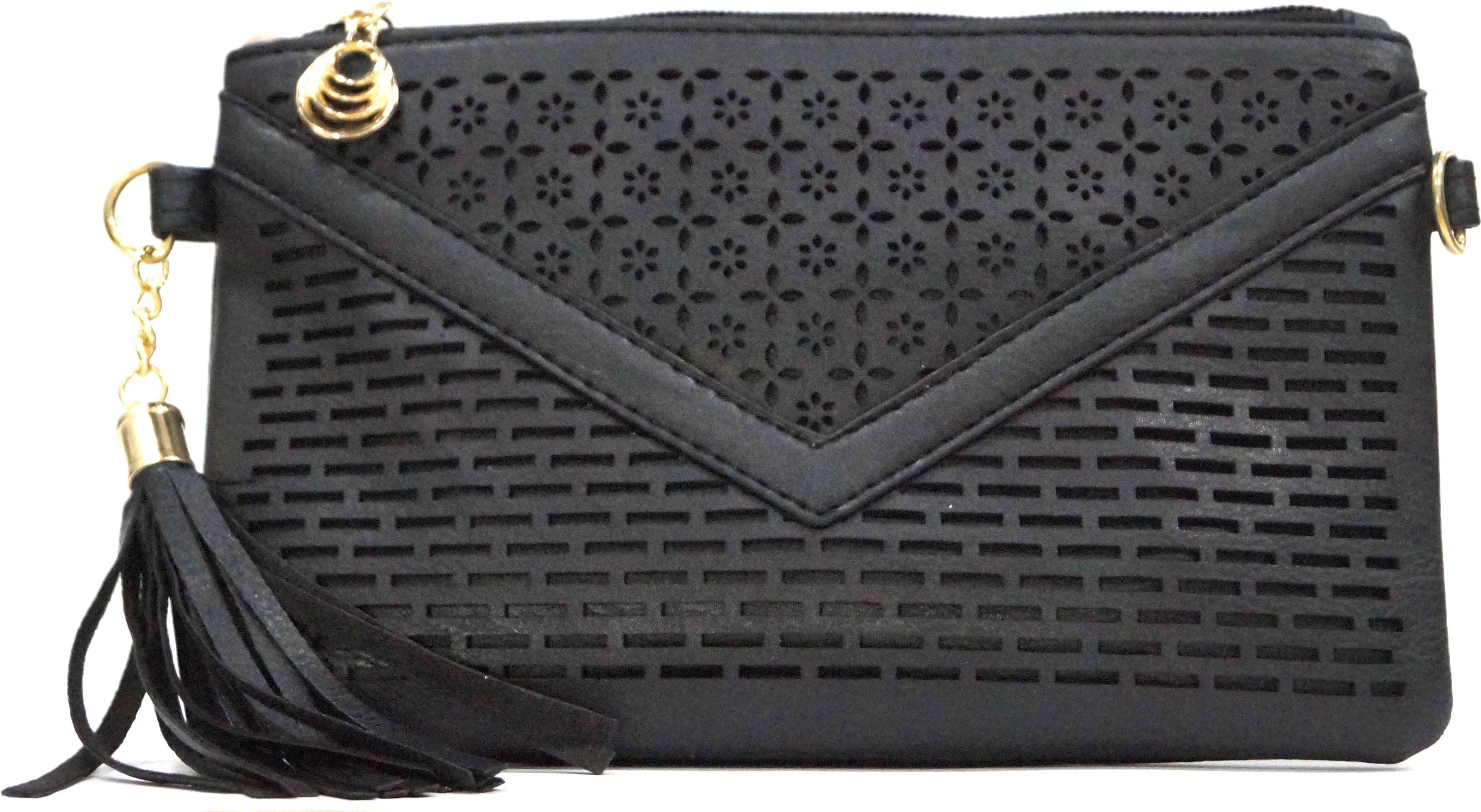 Sling bag below 500 - Nemichand Jewels Girls Black Leatherette Sling Bag