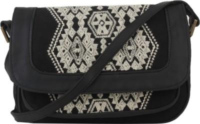 Tiara Women Black Canvas Sling Bag