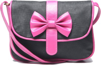 Berrypeckers Girls Casual Black, Pink PU Sling Bag