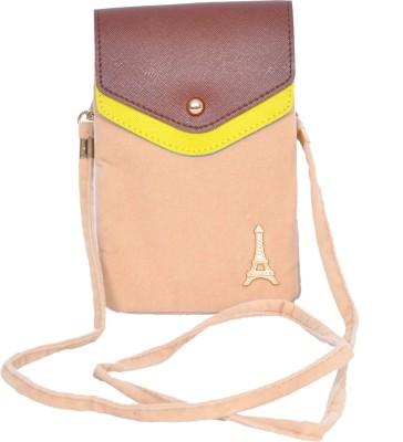 FabSeasons Women Casual Beige Velvet Sling Bag