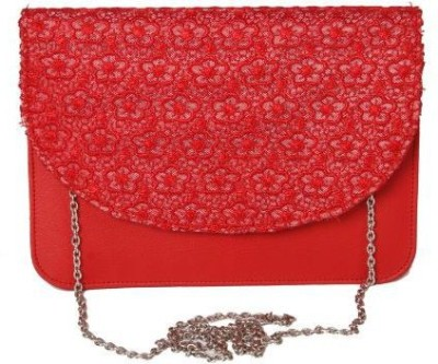 Kuero Women Red Leatherette, Cotton Sling Bag