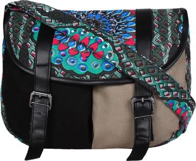 Anekaant Women Black, Multicolor Canvas, PU Sling Bag