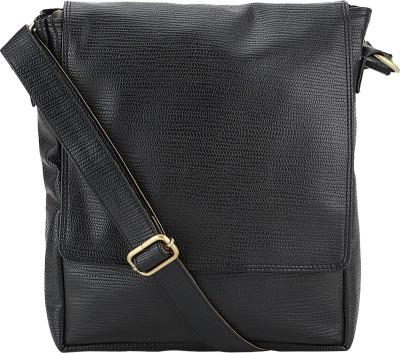 The Runner Men Black Rexine Sling Bag