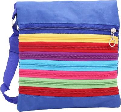 Globalgifts Women Casual Blue Cotton Sling Bag