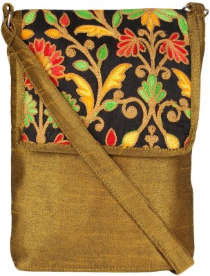 Art Horizons Women Gold Cotton Sling Bag