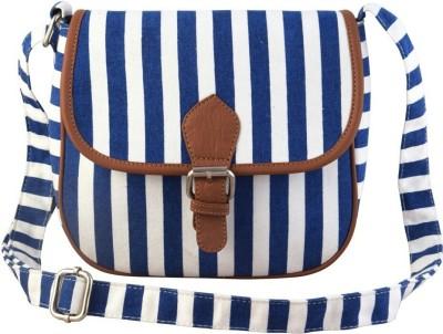 Ayeshu Girls White, Blue Canvas Sling Bag
