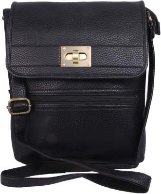 Alishaan Girls Black Genuine Leather Sling Bag
