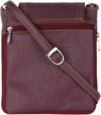 DnS Girls Casual Maroon, Purple Leatherette Sling Bag