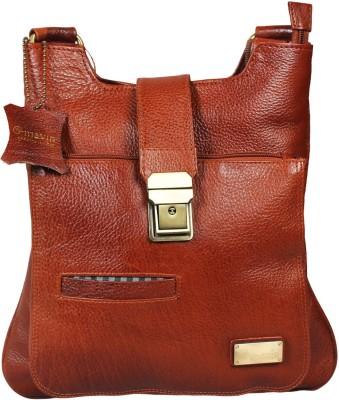 Mavin Boys, Girls Tan Genuine Leather Sling Bag