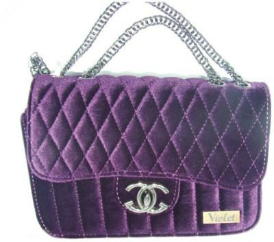VIOLET Girls, Women Purple Velvet Sling Bag