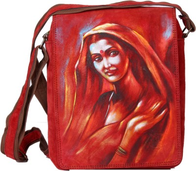 Varunkalart Men Red Genuine Leather Sling Bag