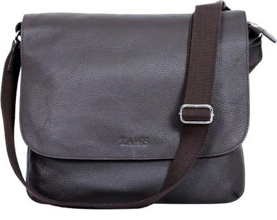 Taws Men Casual Brown Genuine Leather Sling Bag