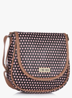3 Mad Chicks Women Pink, Black PU Sling Bag