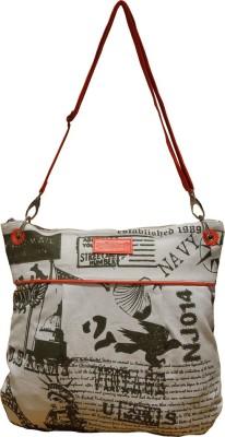 Spice Art Women White, Orange Canvas Sling Bag