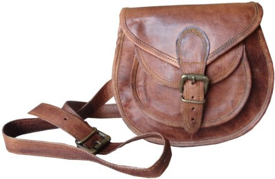 b-unit products Men, Girls, Women Brown Genuine Leather Sling Bag
