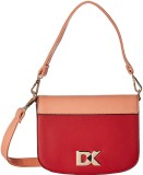 Diana Korr Women Red, Beige PU Sling Bag