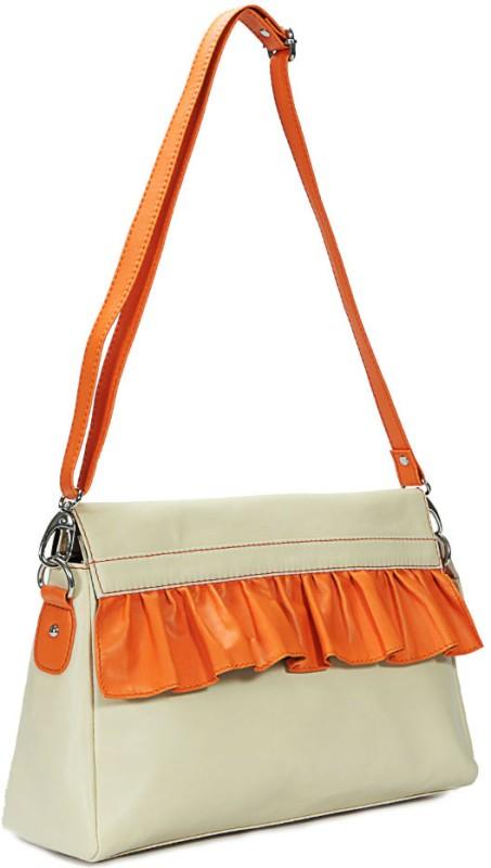 Borsavela Women Casual White Genuine Leather Sling Bag Fairy Frill