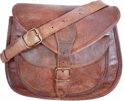 Craft World Girls, Women Brown Genuine Leather Sling Bag