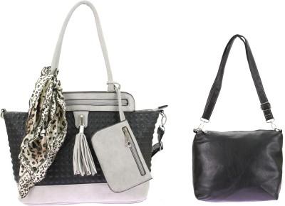velina Women Black, Grey PU Shoulder Bag