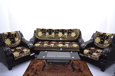 KINGLY Jacquard Sofa Cover(Brown Pack of 6)