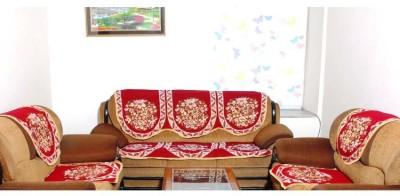 Madhav product Velvet Sofa Cover(maroon Pack of 6)