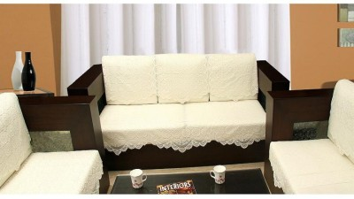 Zesture Jacquard Sofa Cover(Beige Pack of 6)