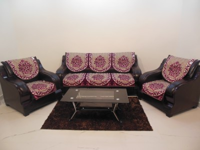 KINGLY Jacquard Sofa Cover(Purple Pack of 6)