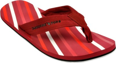 Tangerine Toes Stipes MM Flip Flops