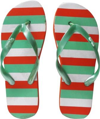 Younky Orange White Flat Flip Flops