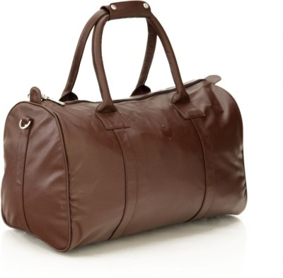 Mboss Sleek Faux leather Unisex Brown Small Travel Bag - Medium(Brown)