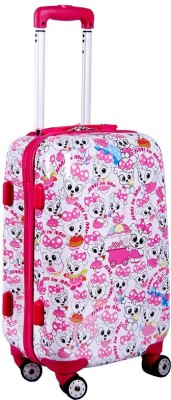 T-Bags Trendy Pink 4 Wheels Trolley Bag For Girls 20
