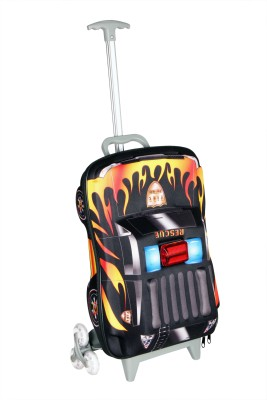 T-Bags 3D Police Car Black Kid's Trolley Small Travel Bag  - Small