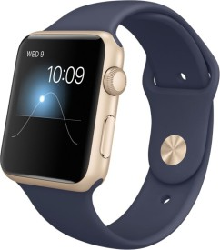 Apple Watch Sport Gold Aluminium case midnight Blue sport Band 42mm