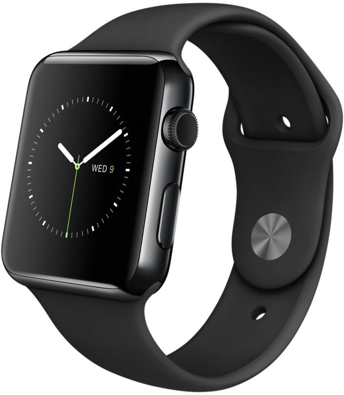Apple Watch 42 mm Space Black Stainless Steel Case with Sport Band(Black Strap Medium)