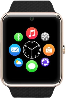 Medulla GT08 GSM SIM card Camera Video recorder Fitness Tracker Bluetooth Gold Smartwatch(Black Strap Regular) at flipkart