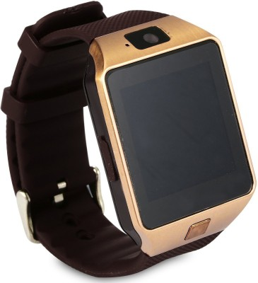 Wonder World ® DZ-09 Mobile With GSM SIM Card & Camera Bluetooth Gold Smartwatch(Gold Strap Regular) at flipkart