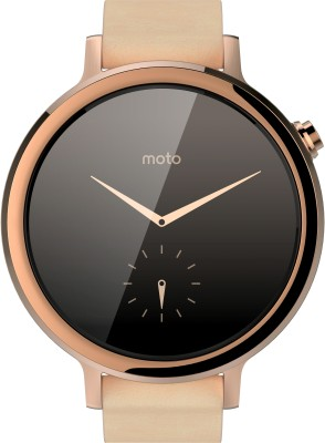 Motorola Moto 360 2nd Gen (42 mm) for Women Blush Leather Smartwatch(Gold Strap Small)
