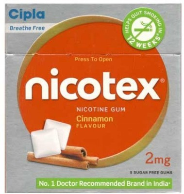 Cipla Nicotex 2mg Cinnamon Flavour Nicotine Gum 16 hour patch Smoking Patch(Pack of 90)