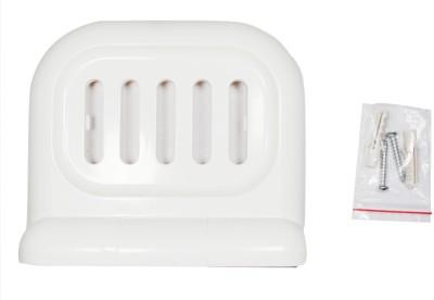 Saira White Plastic Soap Dish Wall-Mount and Counter-Top Dual Design