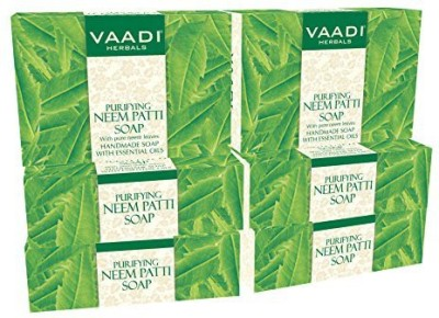 Vaadi Herbals Neem Soap (Neem Leaves Bar Soap) - Handmade Herbal Soap (Aromatherapy) with 100% Pure Essential Oils - ALL Natural - Prevents Premature Aging - Pack of 6