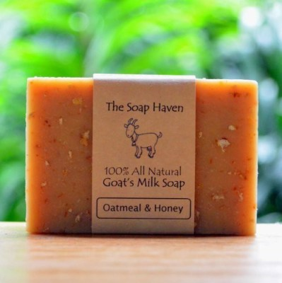 The Soap Haven Oatmeal Soap Bar 4 Pack - 100% All Natural Fresh Goat Milk Soap Bar FRAGRANCE FREE with OATMEAL & HONEY. Wonderful for Eczema Psoriasis sensitive skin and all skin types. SLS Free NO Sulfates NO Parabens NO Preservatives NO harmful crap. - Handmade in USA.
