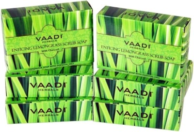 Vaadi Herbals Enticing Lemongrass Scrub Soap - Pack of 6