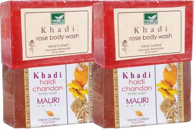 Khadimauri Haldi Chandan & Rose Soaps Twin Pack of 4 Herbal Ayurvedic Natural