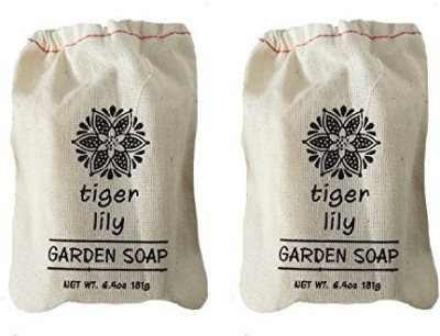 Greenwich Bay Trading Company TIGER LILY Bath Bar Soap in Cloth Sachet Triple-Milled Exfoliating Shea Butter Luxurious Soaps by Greenwich Bay Trading Co. (2 Pack)