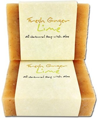 Candlecopia Fresh Ginger Lime Soap Bars - 2 Pack - GMO Free Certified All Natural Herbal Soap with Aloe