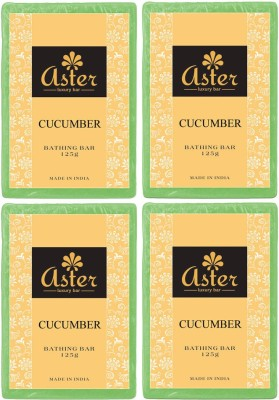 Aster Luxury Handmade Cucumber Soap 125g - Pack of 4