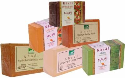 Khadimauri Haldi-Chandan Aloe-Vera Khas Papaya Orange Strawberry Soaps - Combo Pack of 6 - Premium Handcafted Herbal