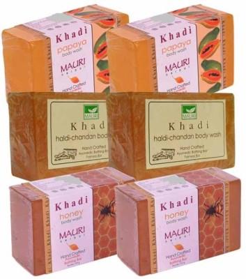 Khadimauri Papaya, Haldi-Chandan & Honey Double Pack Soaps - Combo Pack of 6 - Premium Handcafted Herbal
